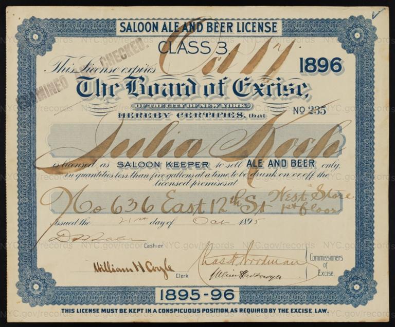 License No. 235: Julia Koch, 636 E. 12th St.; assigned to George Ringler & Company