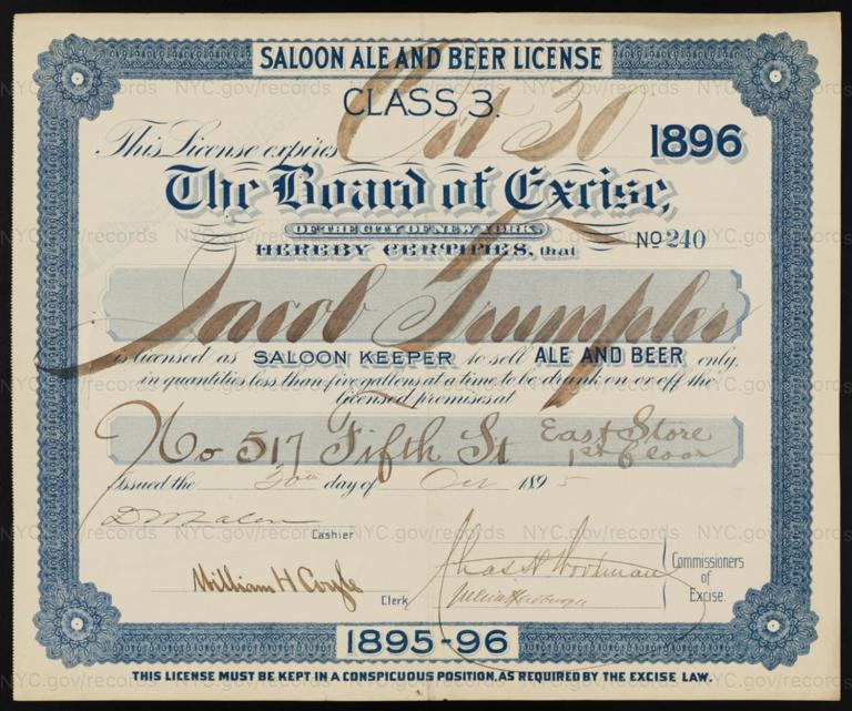 License No. 240: Jacob Trumpler, 517 E. Fifth St.; assigned to Joe Streimer