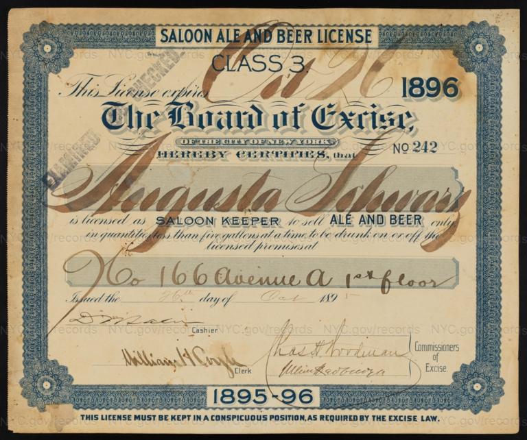 License No. 242: Augusta Schwarz, 166 Avenue A