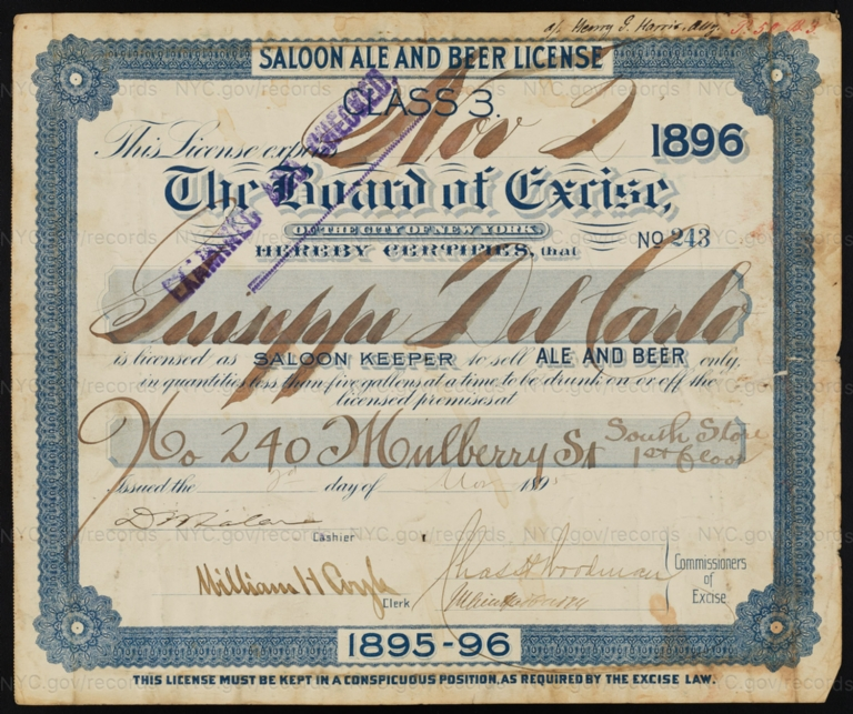 License No. 243: Guiseppe Del Carlo, 240 Mulberry St.