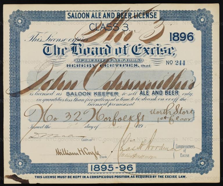 License No. 244: John Ochsenreither, 32 Norfolk St.; assigned to S. Liebmann's Sons Brewing Co.