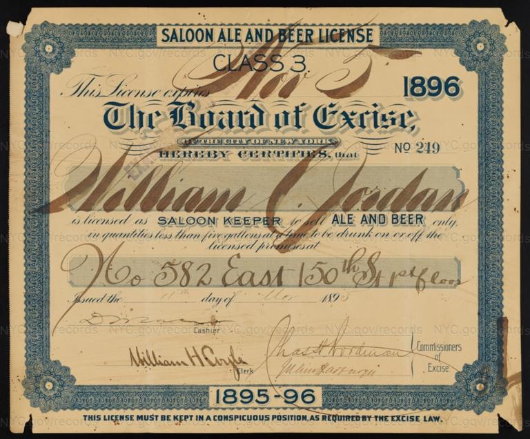 License No. 249: William Jordan, 582 E. 150th St.