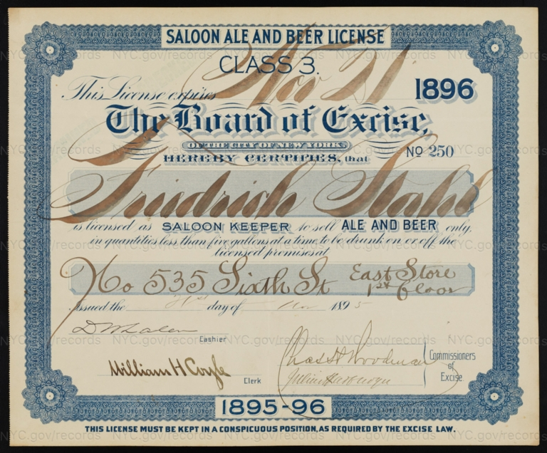 License No. 250: Friedrich Stahl, 535 E. Sixth St.