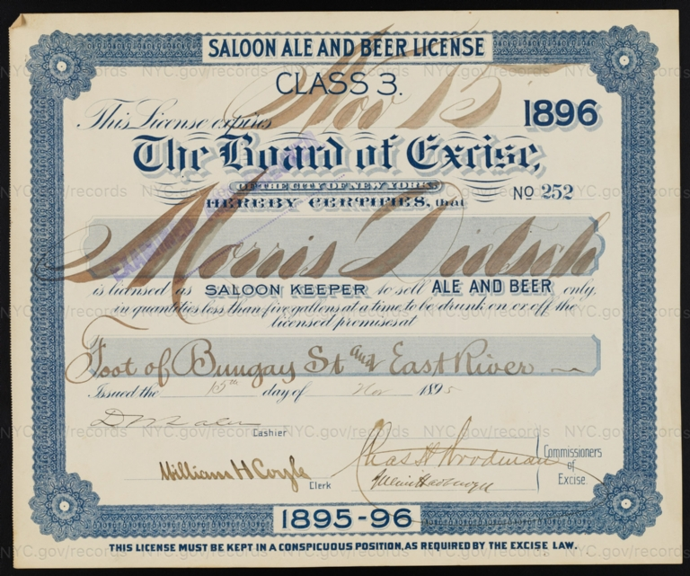 License No. 252: Morris Dietsch, foot of Bungay Street and East River [Bronx]