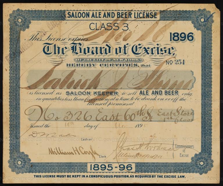 License No. 254: Patrick J. Shine, 326 E. 60th St.; assigned to George Ringler & Company