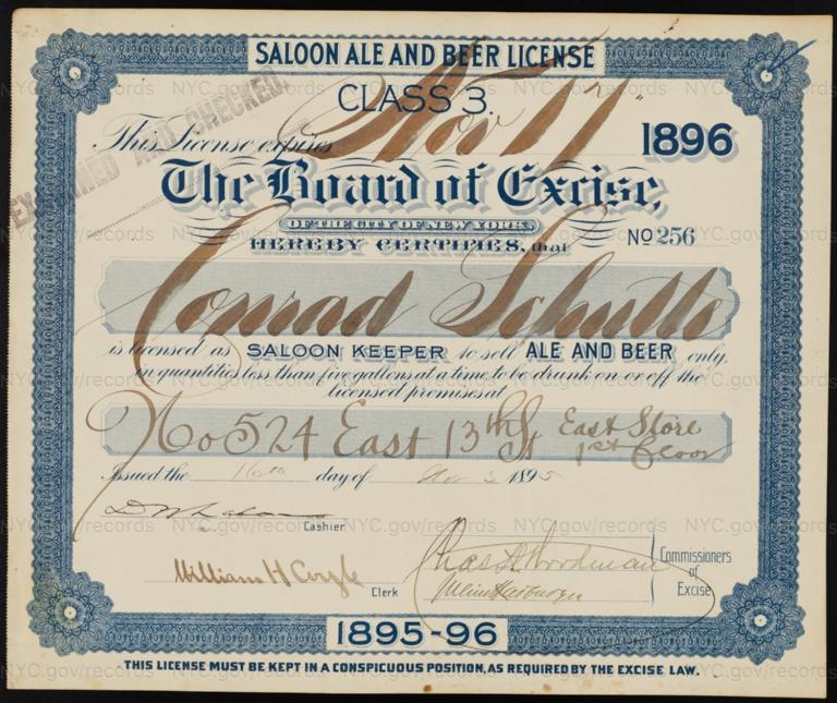 License No. 256: Conrad Schutte, 524 E. 13th St.; assigned to George Ringler & Company