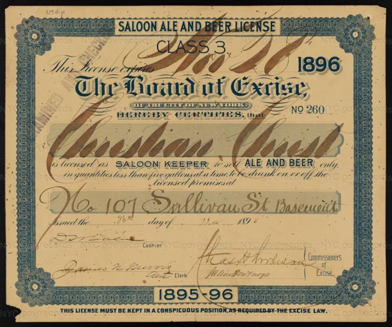 License No. 260: Christian Christ, 107 Sullivan St.