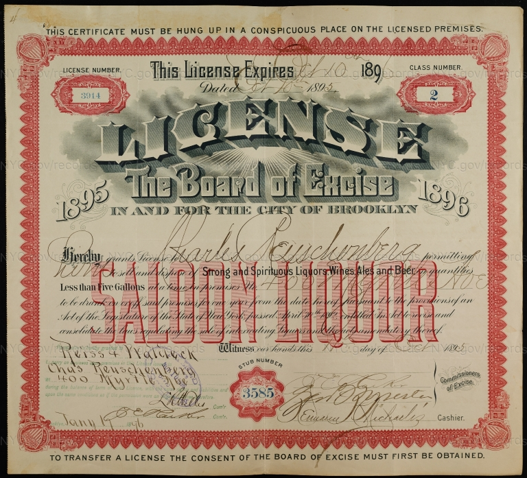 License No. 3914: Charles Reuschenberg, 400 Myrtle Ave., assigned to Harry M. Rein and Henry Waldeck and then to William Ulmer