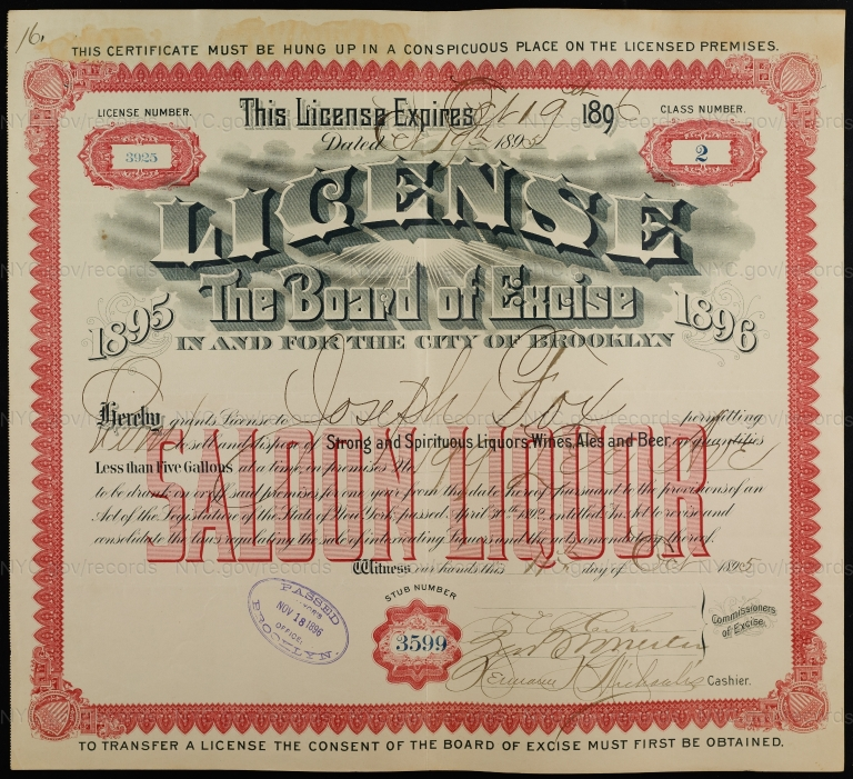 License No. 3925: Joseph Fox, 199 Lee Ave., assigned to William Ulmer
