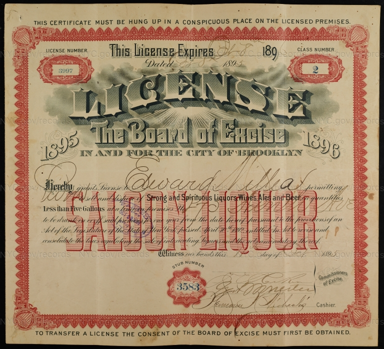 License No. 3997: Edward Millea, 273 Ninth Ave., assigned to Budweiser Brewing Company