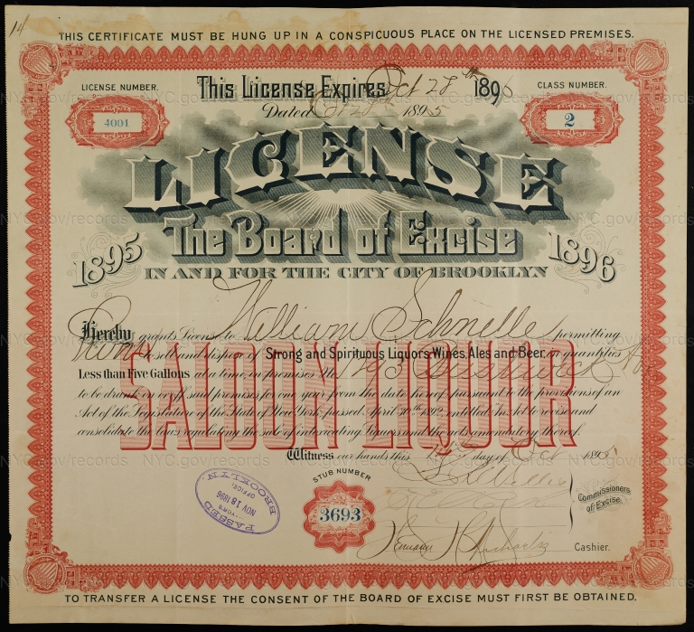 License No. 4001: William Schnelle, 1293 Bushwick Ave., assigned to William Ulmer