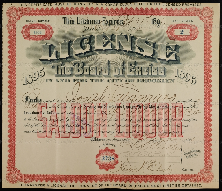License No. 4105: Joseph Catanzaro, 92 Union St., assigned to Budweiser Brewing Company