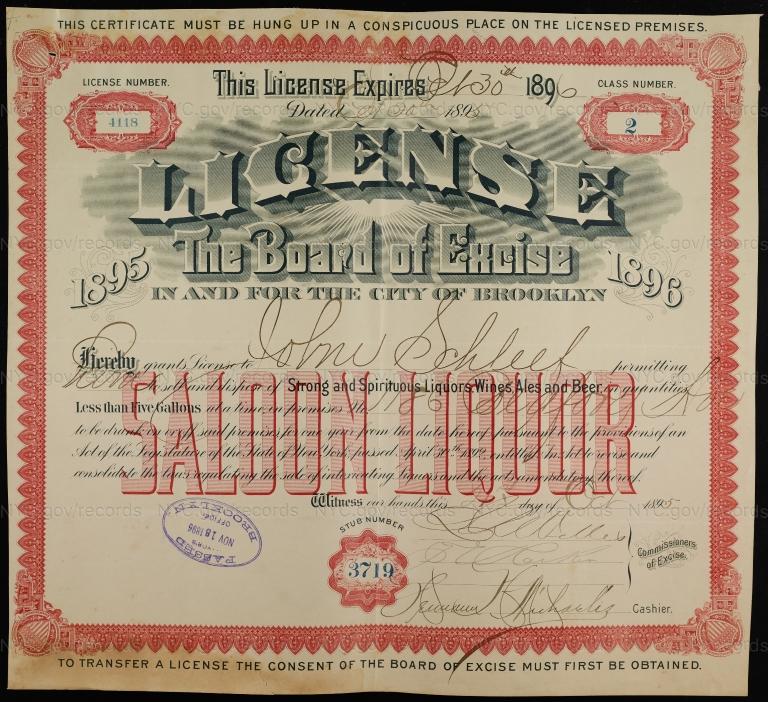 License No. 4118: John Schleef, 1186 Bedford Ave., assigned to William Ulmer