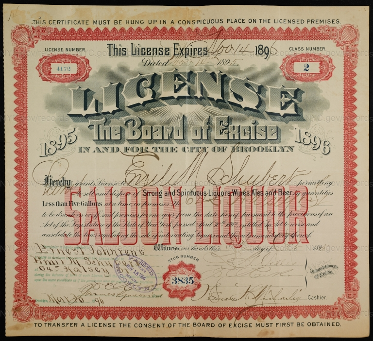 License No. 4172: Emil Schubert, 645 Halsey St., assigned to Ernest Johrens and then to William Ulmer