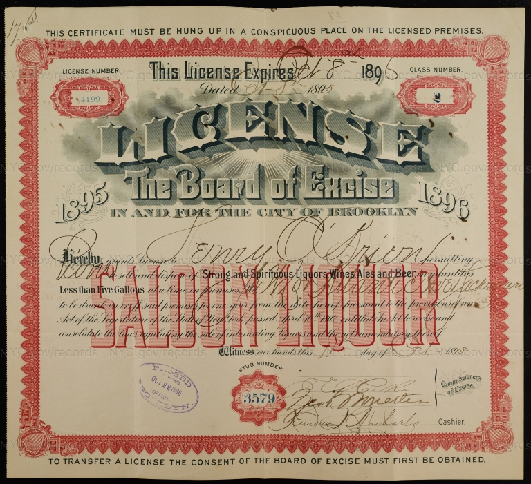 License No. 4199: Henry O'Brien, northwest corner of Atlantic Avenue and Sackman Street, assigned to Budweiser Brewing Company