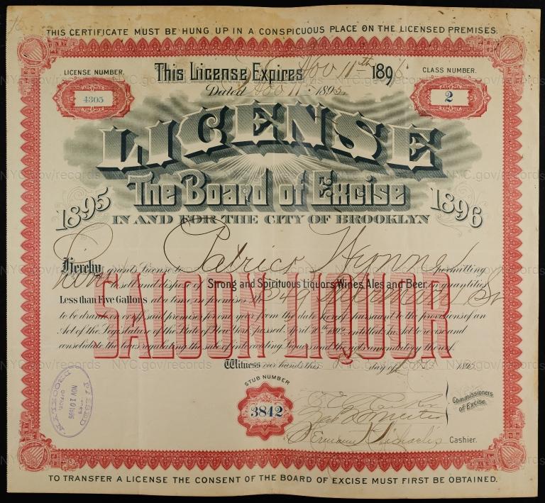 License No. 4305: Patrick Wynne, 349 Furman St., assigned to William Ulmer