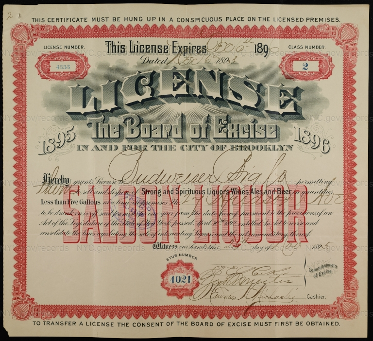 License No. 4353: Budweiser Brewing Company, 27 Hudson Ave.
