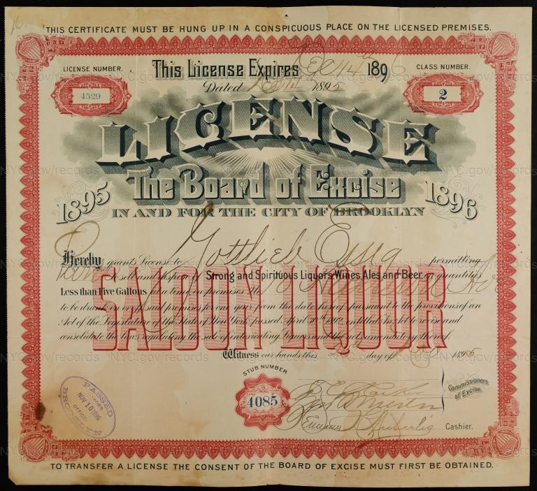 License No. 4529: Gottlieb Essig, 10 Harrison Ave., assigned to William Ulmer