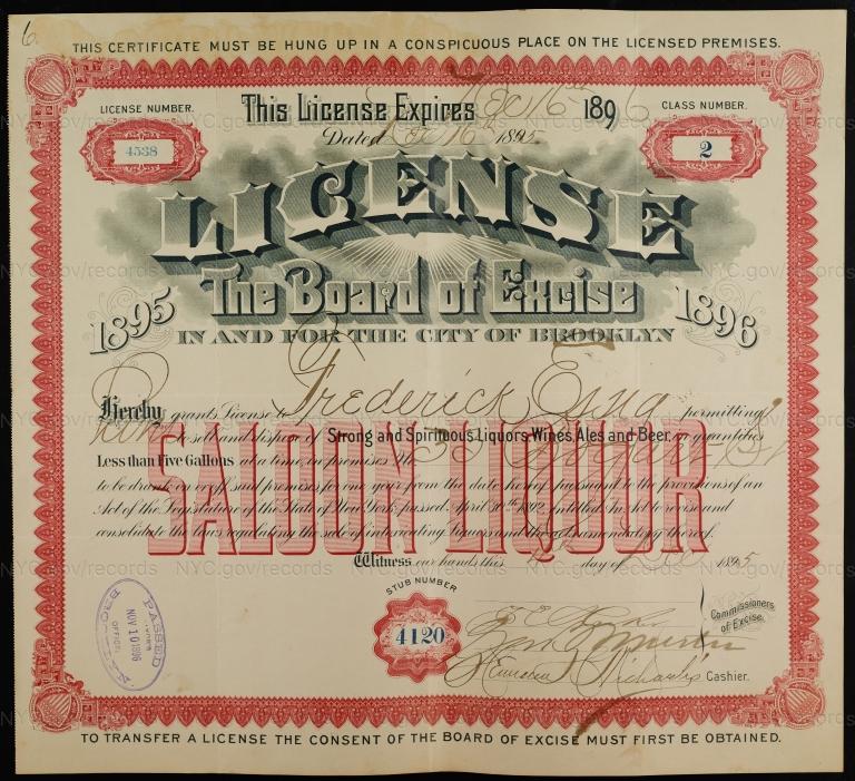 License No. 4538: Frederick Essig, 33 Bogart St., assigned to William Ulmer