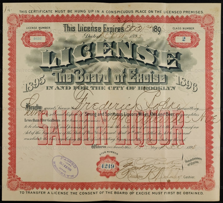 License No. 4652: Frederick Ropke, 1996 Atlantic Ave., assigned to Budweiser Brewing Company
