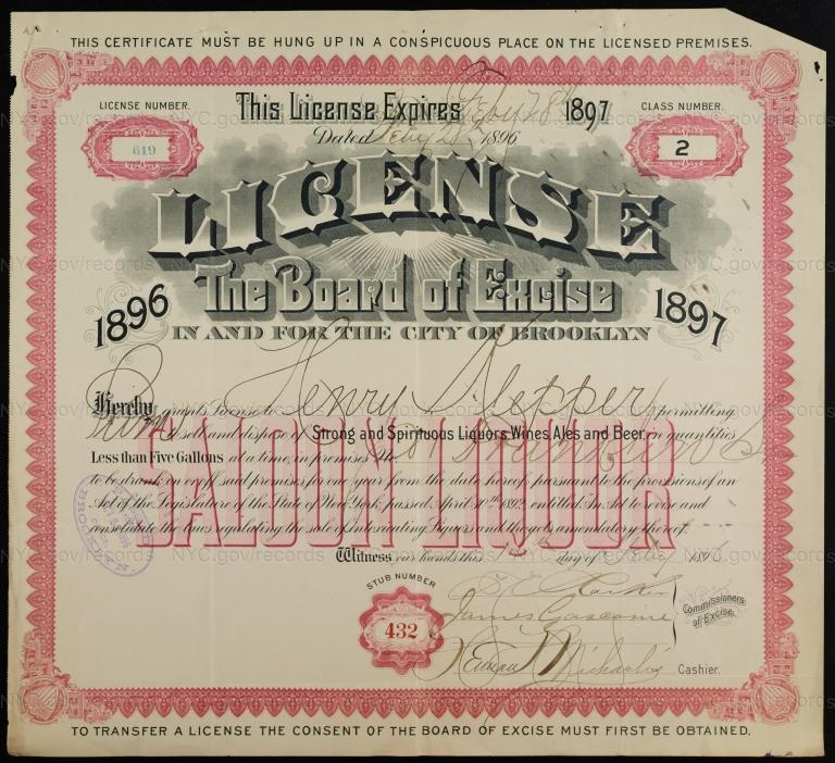 License No. 619: Henry Klepper, 81 Franklin St., assigned to Frederick Kropp