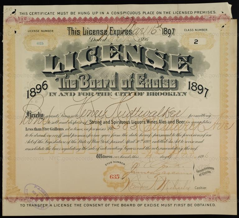 License No. 625: Henry Hudtwalker, 503 Bushwick Ave.