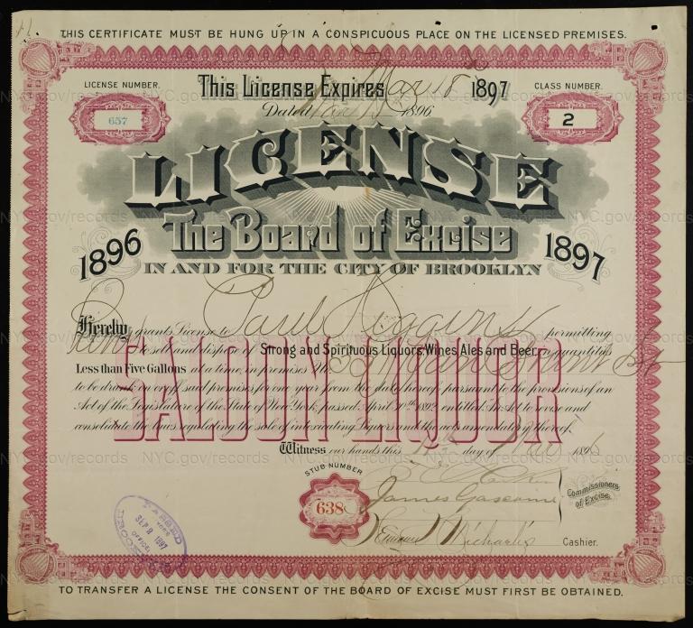 License No. 657: Paul Higgins, 331 Van Brunt St., assigned to James Elliot