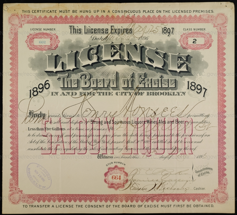 License No. 662: Henry Monsees, 217 Court St., assigned to John McConaughy Jr.