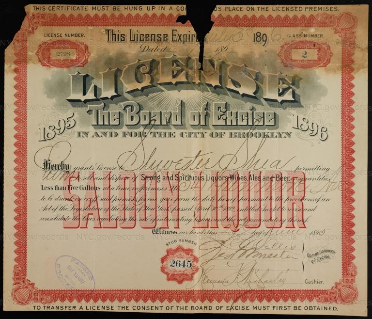 License No. 2798: Sylvester Shea, 341 Glenmore Ave.