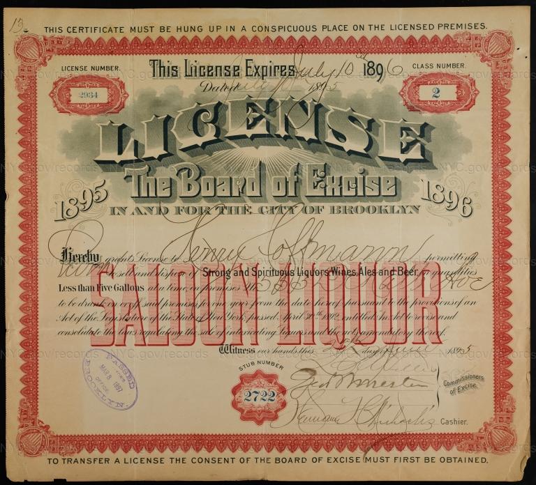 License No. 2934: Henry Hoffmann, 553 DeKalb Ave., assigned to Julius Lehrenkrauss Jr.