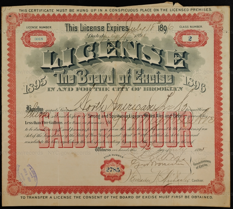 License No. 3018: North American Brewing Co., 997 Myrtle Ave.