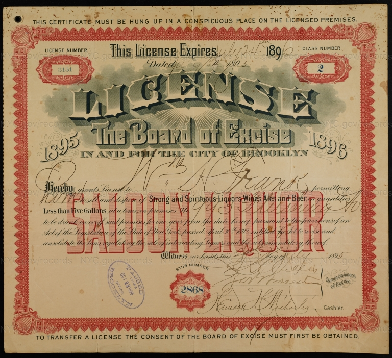License No. 3151: William H. Frank Brewing Company, 993 Flushing Ave.