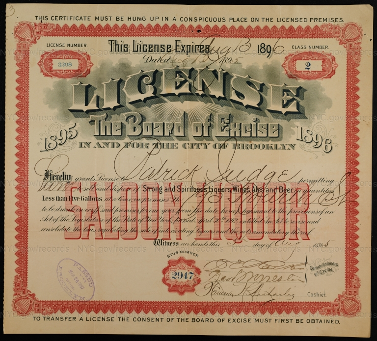 License No. 3208: Patrick Judge, 93 Fourth St., assigned to India Wharf Brewing Company