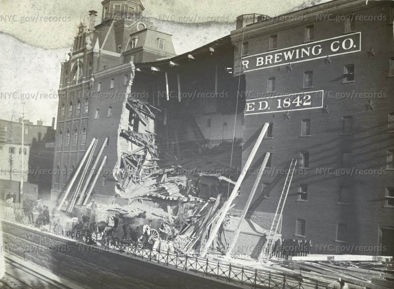 """""""Sudden Fall in Malt"""" - Schaefer Brewing Company - Park Avenue from 50th to 51st Street"""