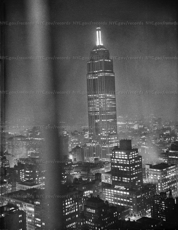 Empire State Building at night, West 34th Street & 5th Avenue.