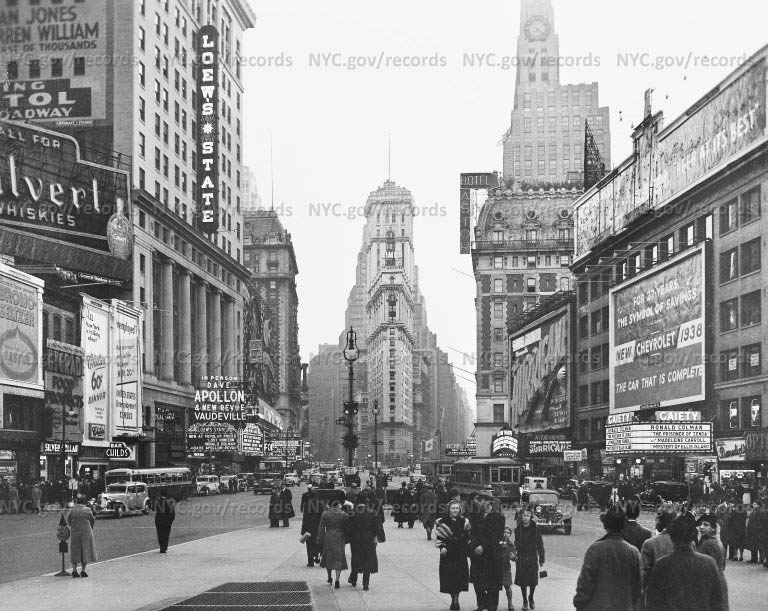 Times Square theaters by day, 46th and Broadway, south from 47th Street, New York City
