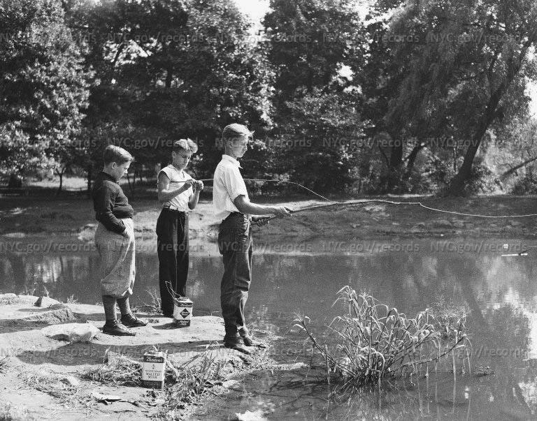 Three boys fishing in Prospect Park Lake, Prospect Park, Brooklyn, New York