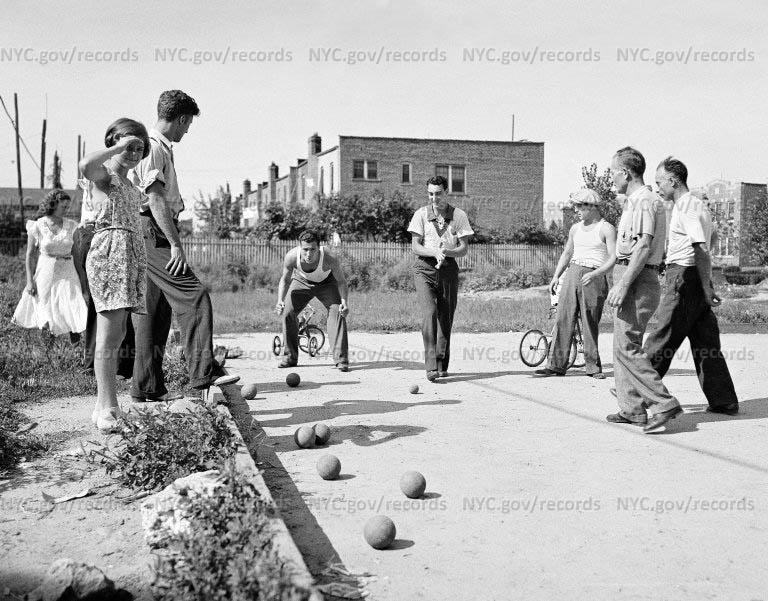 """Bocci"", Italians playing, Bensonhurst, Brooklyn, Long Island"