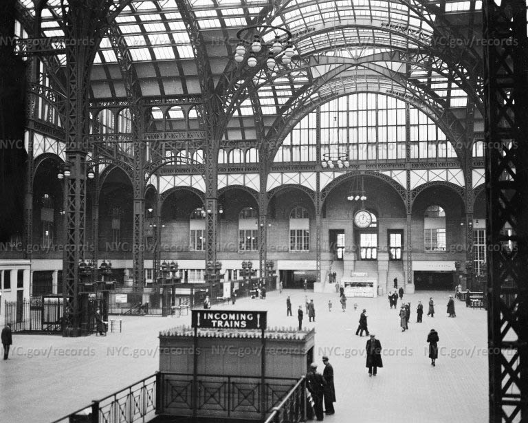 Pennsylvania Station's glass-roofed train shed, West 32nd Street and 7th Avenue, New York City