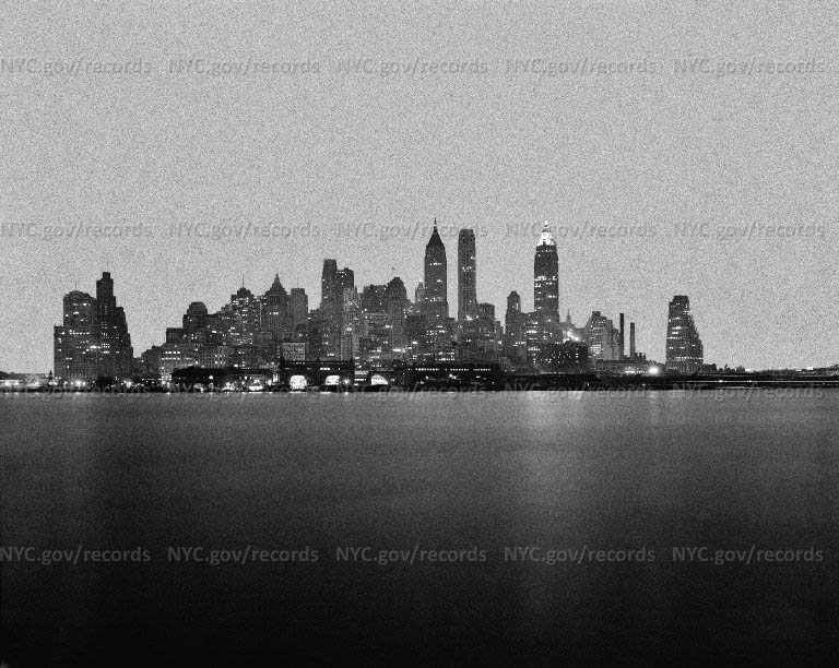 """""""As They Loom from the Bay, by Night."""" Downtown New York-Night View"""