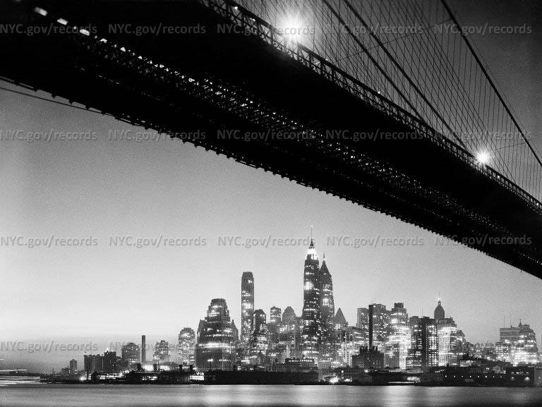 Night view, downtown from under Brooklyn Bridge, Brooklyn