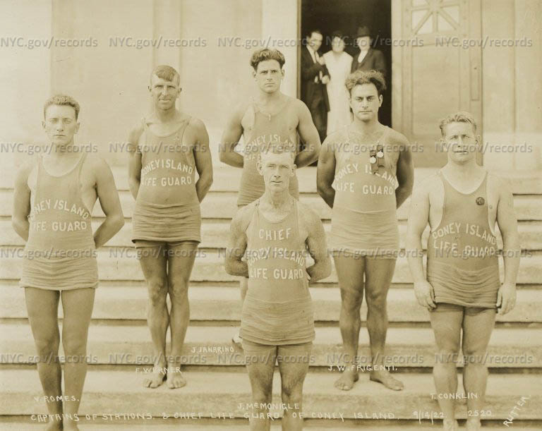 Life Guards, Coney Island, captains of Stations and Chief Life Guard of Coney Island, V. Romos, F. Werner, J. Janarimo, J. McMonigle, J.W. Frigenti and T. Conklin