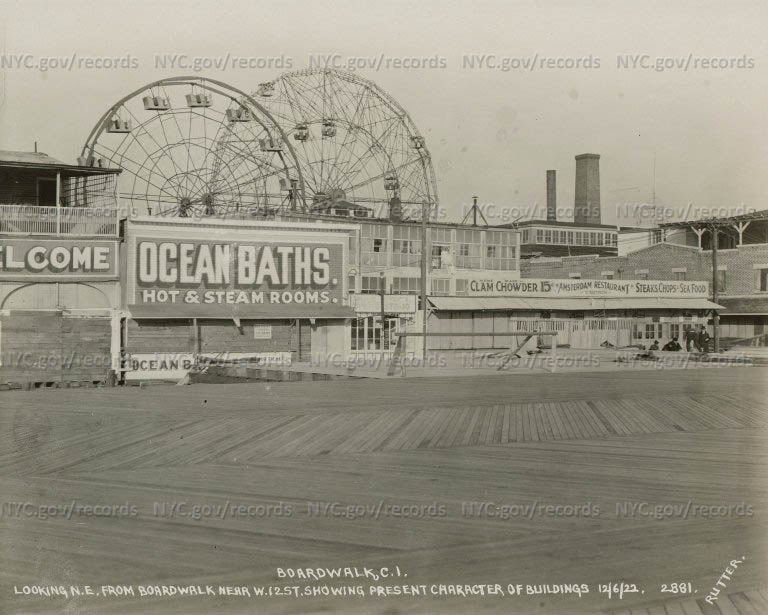 Boardwalk, Coney Island, looking North East from Boardwalk, near West 12th Street, showing present character of buildings