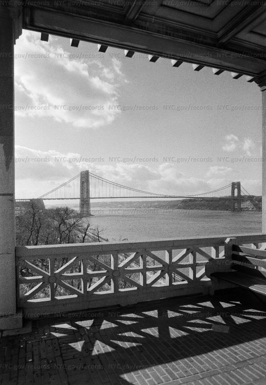 General view of palisades & George Washington Bridge from Cloisters