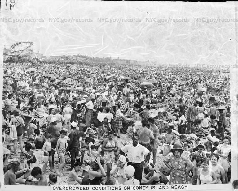 Overcrowded Conditions at Coney Island Beach