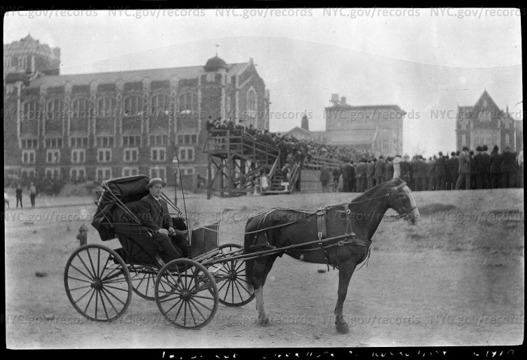 William J. Lee, Supervisor of Recreation, seated in a horse-drawn buggy