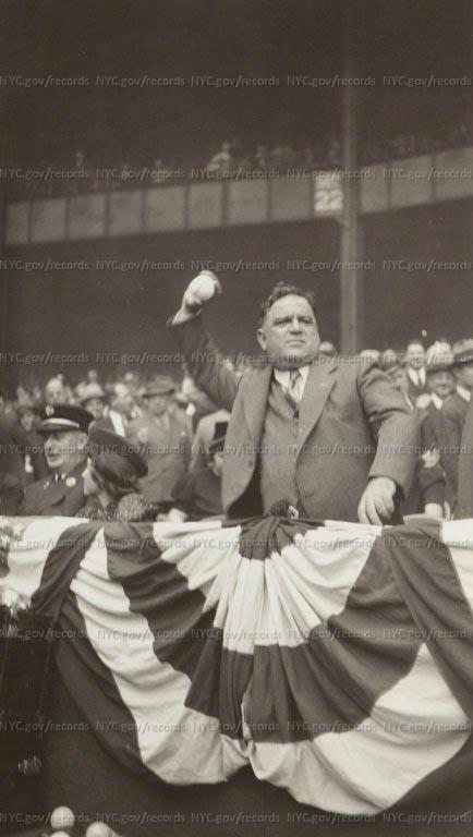 LaGuardia throwing first ball at baseball stadium