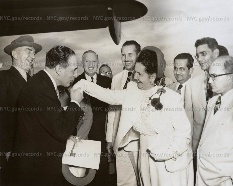 Mayor Vincent Impellitteri poses with Puerto Rican and U.S. officials, San Juan Airport, Puerto Rico, 1951