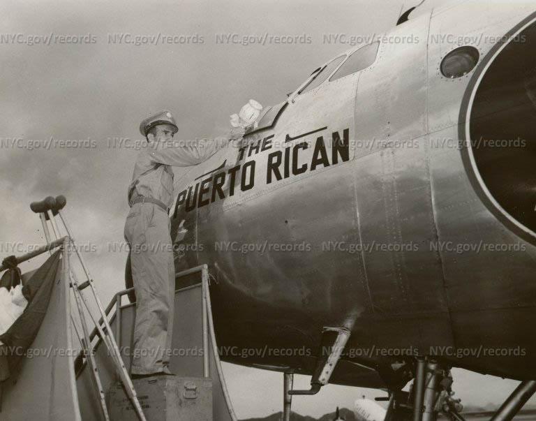 Serviceman Christening The Puerto Rican Airliner, San Juan Airport, Puerto Rico