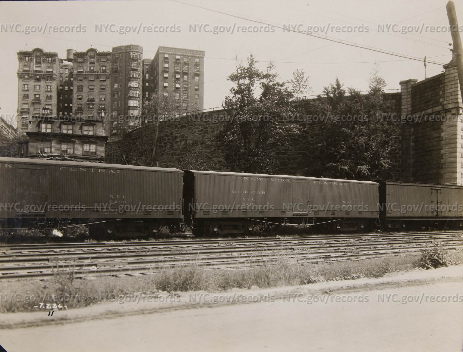 Milk train, Victoria House, large angled apartment houses
